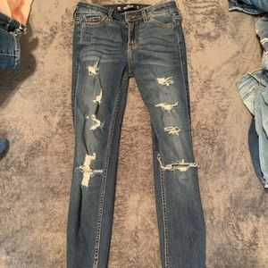 Dark high rise ripped jeans